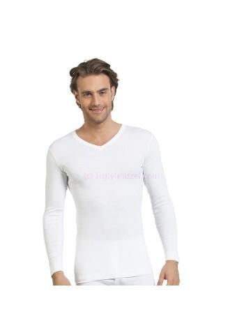 Erkek Beyaz Ribana Uzunkol V Yaka Öztaş A1006