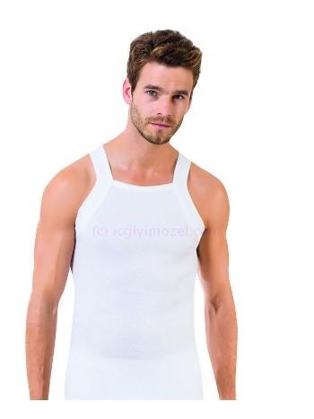 Erkek İnce Askılı Ribana Atlet Beyaz Öztaş A1028