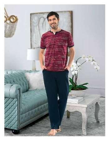 Erkek Kısa Kol-Uzun Alt Pijama NBB 7908