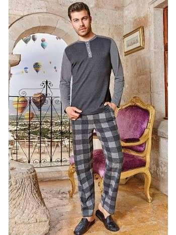 Erkek Uzun Kollu Pijama Takım Altı Klasik Desen Berrak 411