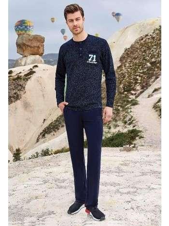 Erkek Uzun Kollu Pijama Takım Berrak 416