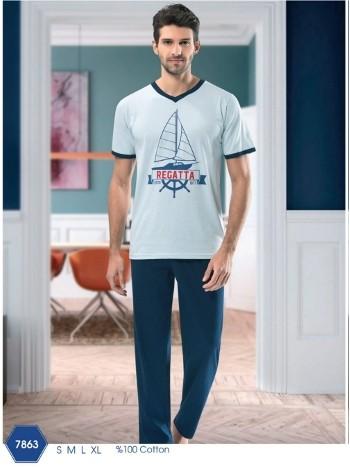 Erkek V Yaka Uzun Pijama Takımı NBB 7863