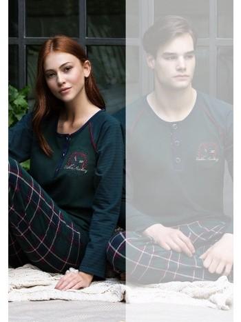 Eşli Bayan Pijama Takımı Ekoseli Feyza 3125