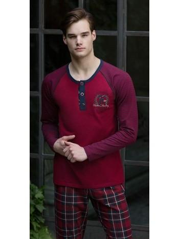 Eşli Erkek Pijama Takımı Ekoseli Feyza 3126