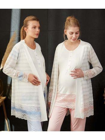 Feyza 3477 Alt Çizgili Loğusa Pijama Takımı
