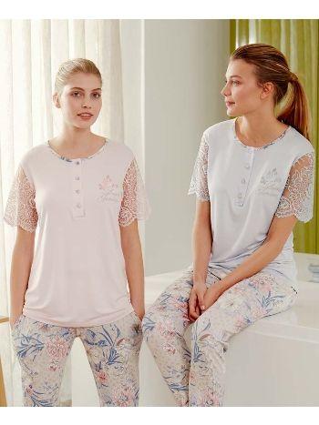 Feyza 3478B Baskılı Klasik Battal Üçlü Pijama