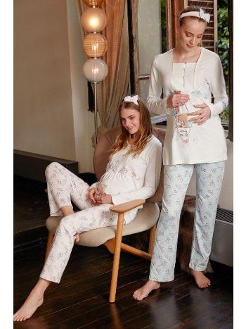 Feyza Hamile Pijama Takım - Saç Bandı Hediyeli 3312