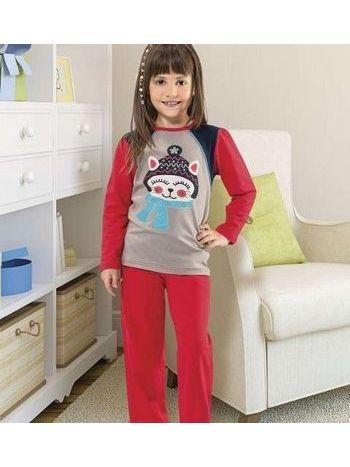 Hmd Kız Çocuk Kedi Baskılı Pijama Takım 5110