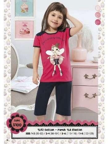 Hmd Kız Çocuk Kelebek Baskılı Kapri Takım 5100