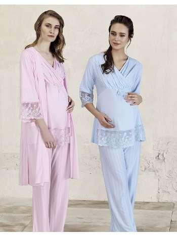Jakarlı Lohusa Sabahlık Pijama Takım Artış 3413