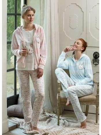 Kadife Pijama Takımı 3 Lü Takım Tavşanlı Feyza 3130