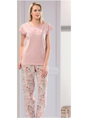 Kadın Çilek Kısa Kol Uzun Pijama NBB 66107