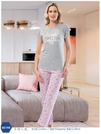 Kadın Pasta Desenli Kısa Kol Uzun Pijama NBB 66144