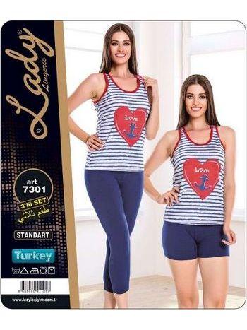 Kalpli 3 Lü Kapri Şort Takım Lady 7301