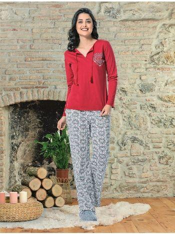 Kalplı Uzun Kol Bayan Pijama Takım NBB 66354