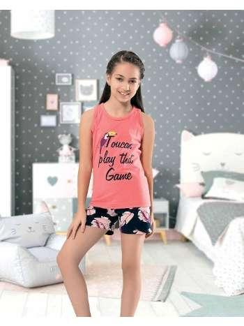 Kız Çocuk Kolsuz Şortlu Pijama NBB 66286