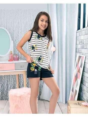 Kız Çocuk Kolsuz Şortlu Pijama NBB 66288