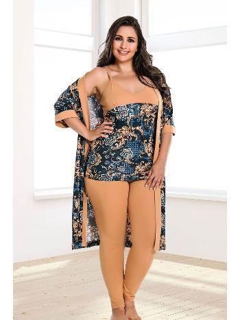 Lady 4 Lü Taytlı Büyük Beden Pijama Takım 18160