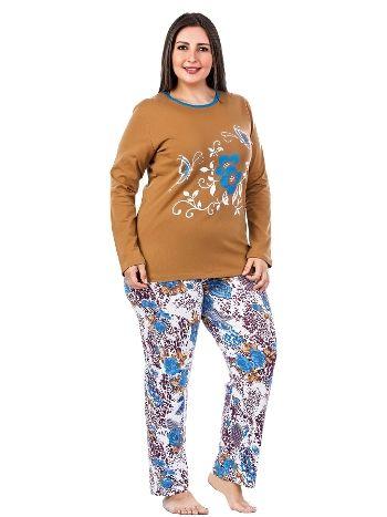 Lady Büyük Beden Penye Pijama Takım 144