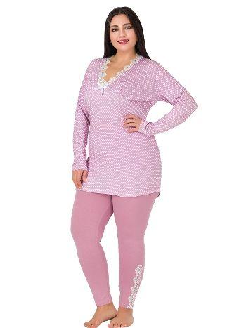 Lady Büyük Beden Puanlı Uzun Kollu Penye Pijama Takım 173