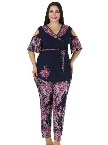 Lady Büyük Beden V Yaka Pijama Takım 412