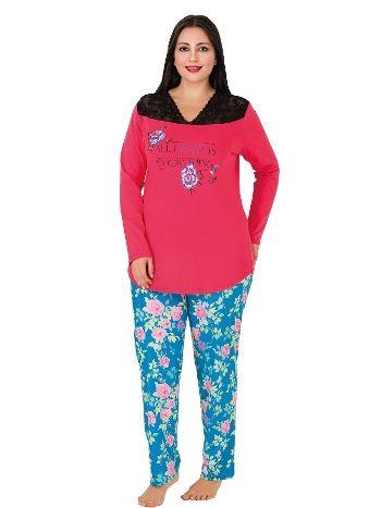 Lady Cepli Uzun Kollu Penye Büyük Beden Pijama Takım 183