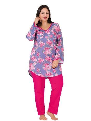 Lady Çiçekli Geniş Kollu Büyük Beden Pijama Takım 180