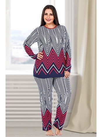 Lady Çizgi Desenli Büyük Beden Pijama Takım 132