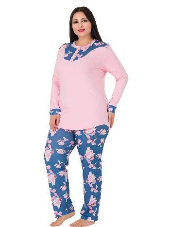 Lady Düğmeli Uzun Kollu Büyük Beden Penye Pijama Takım 185