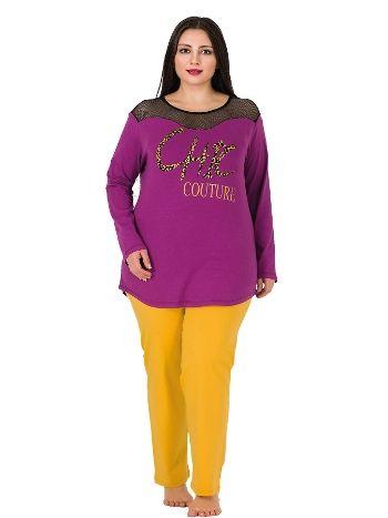 Lady Fileli Uzun Kollu Büyük Beden Penye Pijama Takım 154
