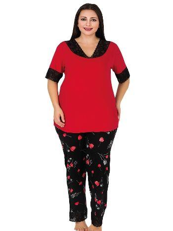 Lady Geniş Siyah Dantelli Büyük Beden Pijama Takım 416
