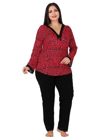 Lady Kırmızı Leopar Desenli Büyük Beden Pijama Takım 171