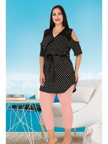 Lady Kuşaklı Büyük Beden Kapri Pijama Takım 257