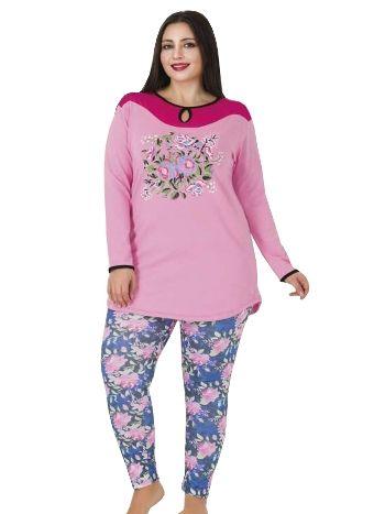 Lady Pembe Çiçek Desenli Büyük Beden Pijama Takım 188