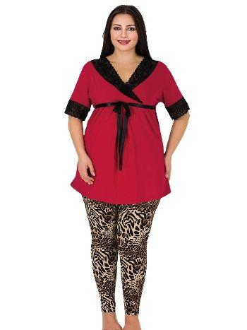 Lady Siyah Kuşaklı Dantelli Büyük Beden Pijama Takım 404