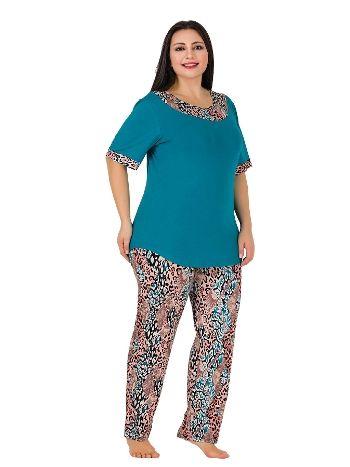Lady Turkuaz Kısa Kollu Büyük Beden Pijama Takım 410