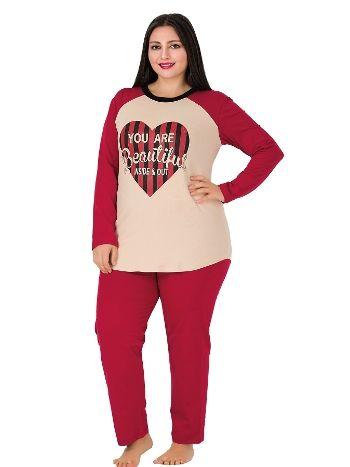 Lady Uzun kollu Kalp Desenli Büyük Beden Pijama Takımı 164