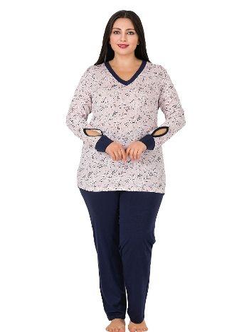 Lady Uzun kollu Manşetli Büyük Beden Pijama Takımı 150