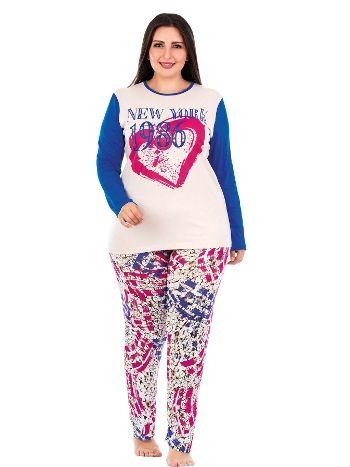 Lady Uzun Kollu Penye Büyük Beden Pijama Takım 149