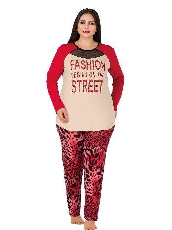 Lady Uzun Kollu Penye Taytlı Büyük Beden Pijama Takım 166