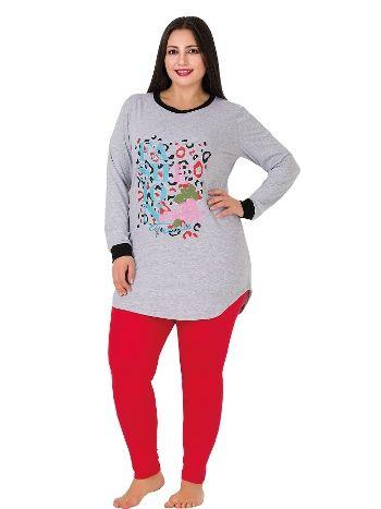 Lady Uzun Kollu Taytlı Büyük Beden Pijama Takım 157