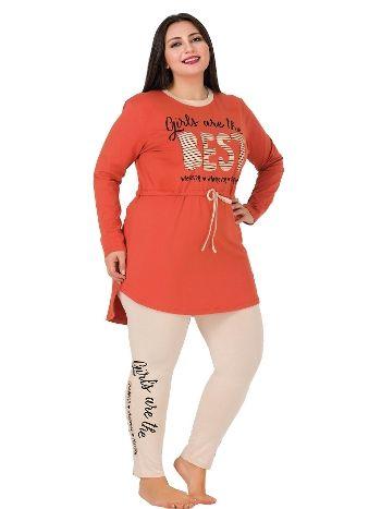 Lady Uzun Kollu Tunikli Taytlı Büyük Beden Pijama Takım 162