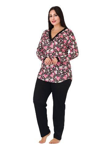 Lady Yaka Dantelli Uzun Kol Büyük Beden Pijama Takım 172