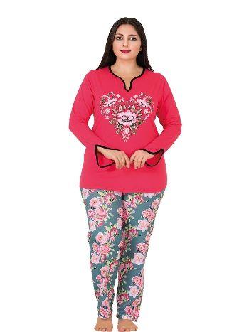 Lady Yaka İçi Siyah Biyeli Büyük Beden Pijama Takım 181