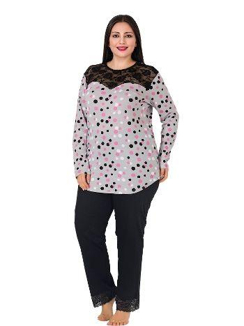 Lady Yaka İçi Siyah Dantelli Büyük Beden Pijama Takım 178
