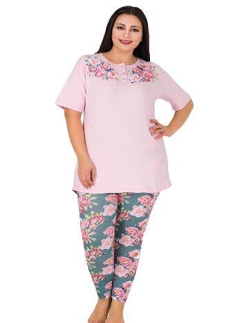 Lady Yaka Üstü Çiçek Desenli Büyük Beden Pijama Takım 417