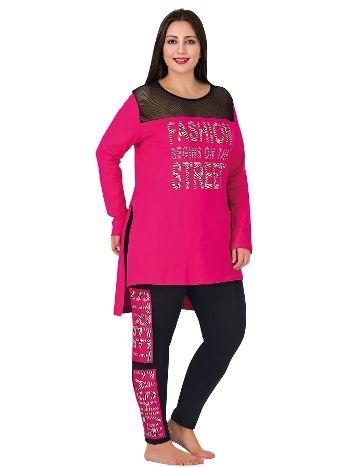 Lady Yaka Üstü Tüllü Büyük Beden Pijama Takım 155
