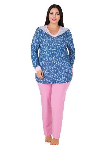 Lady Yakası Beyaz Dantelli Uzun Kol Büyük Beden Pijama Takım 174