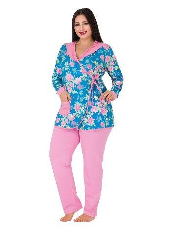 Lady Yakası Dantel Cepli Uzun Kol Büyük Beden Pijama Takım 182