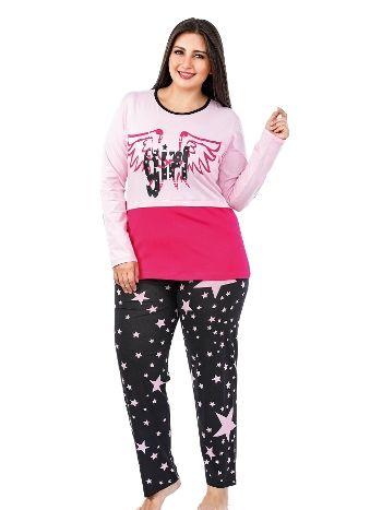 Lady Yıldız Desenli Penye Büyük Beden Pijama Takım 135